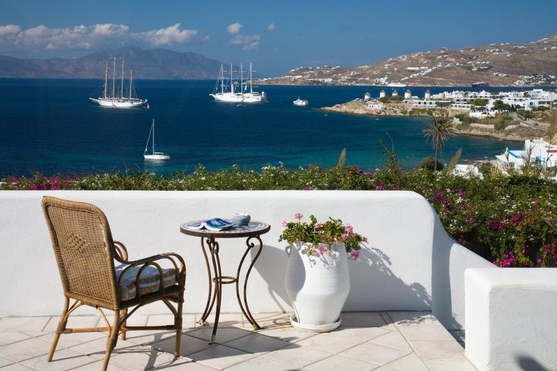 View from the villa terrace of the harbor and mykonos town on the right