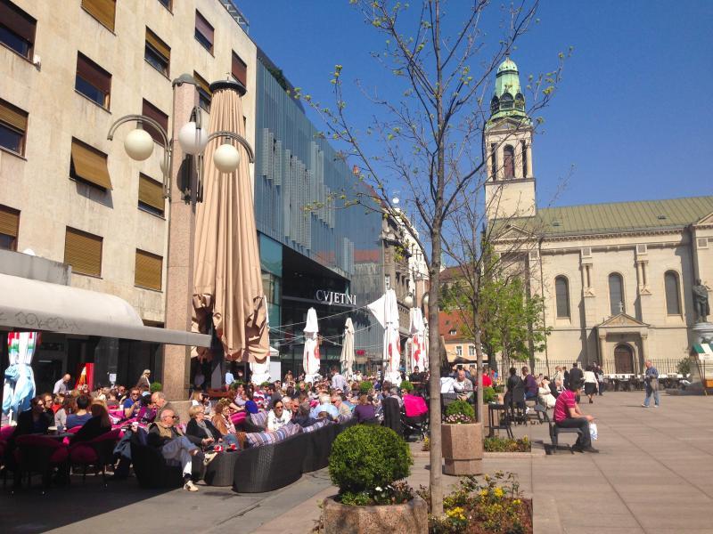Neighboring Cvjetni trg (Flower Square), lively, popular w/Cafes, Restaurants, Shopping mall..