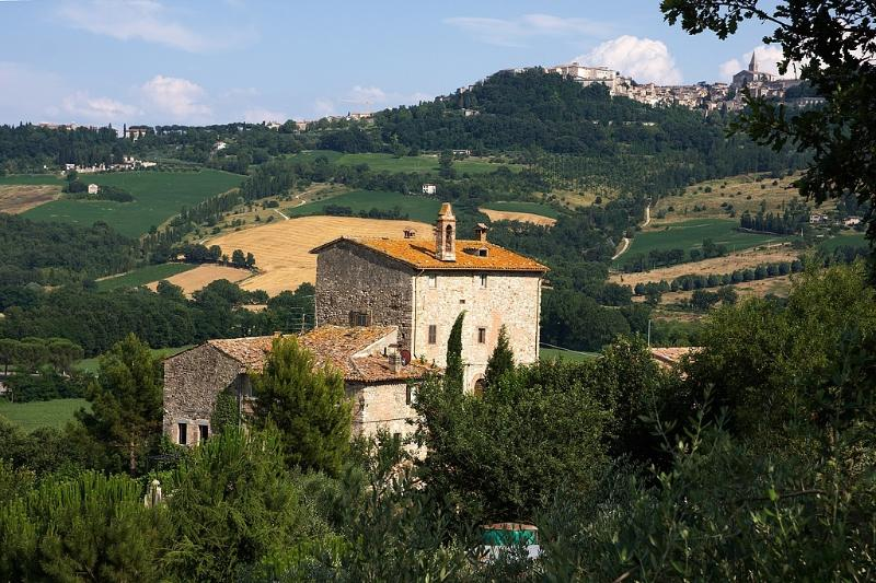 general view of Torre Bertona with Todi in the background