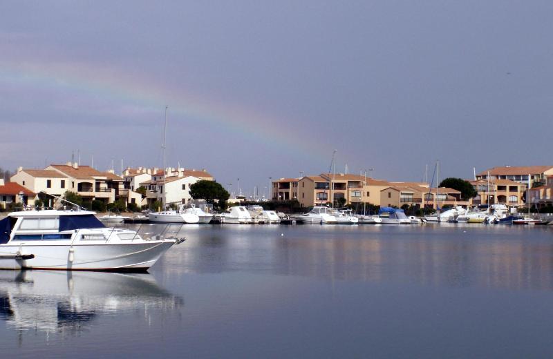 The nearby marina