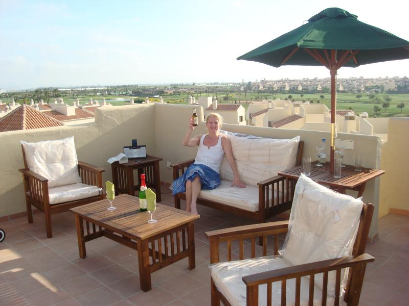 Large Roof Terrace, BBQ and Furniture - overlooking golf course