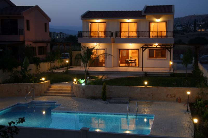 Villa Oceania at night ready for BBQ and balmy evenings