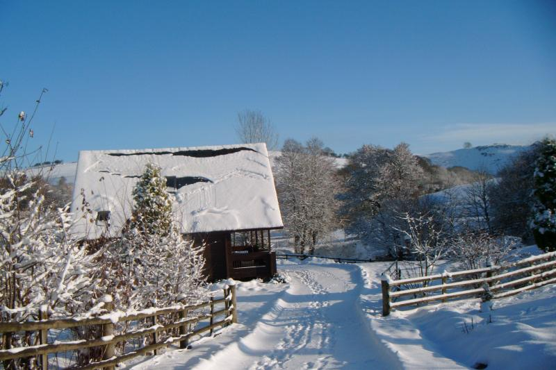 Suran-y-coed lodge in the snow