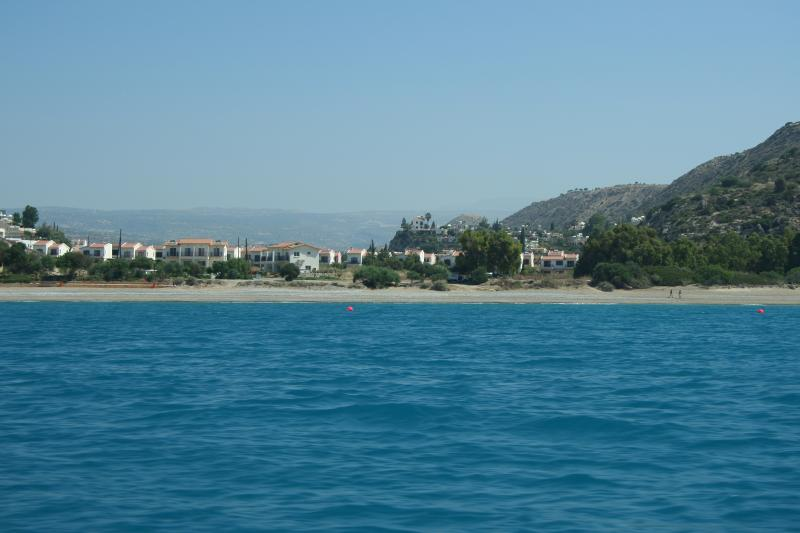 View of  Pissouri Bay from the sea showing the lovely blue flag beach