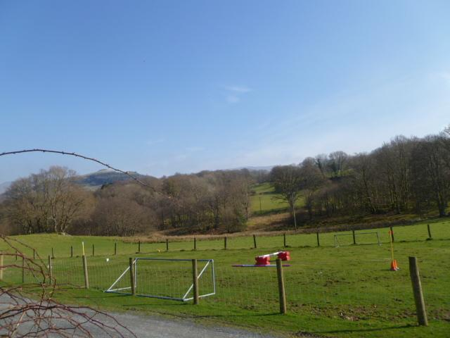 View from garden and BBQ area, lambs can be seen in Spring-time