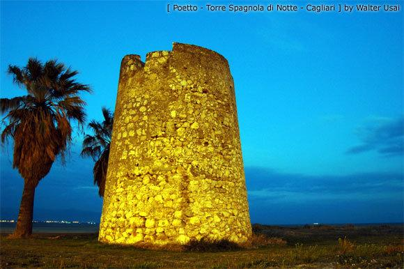 Spanish tower at beach of Poetto
