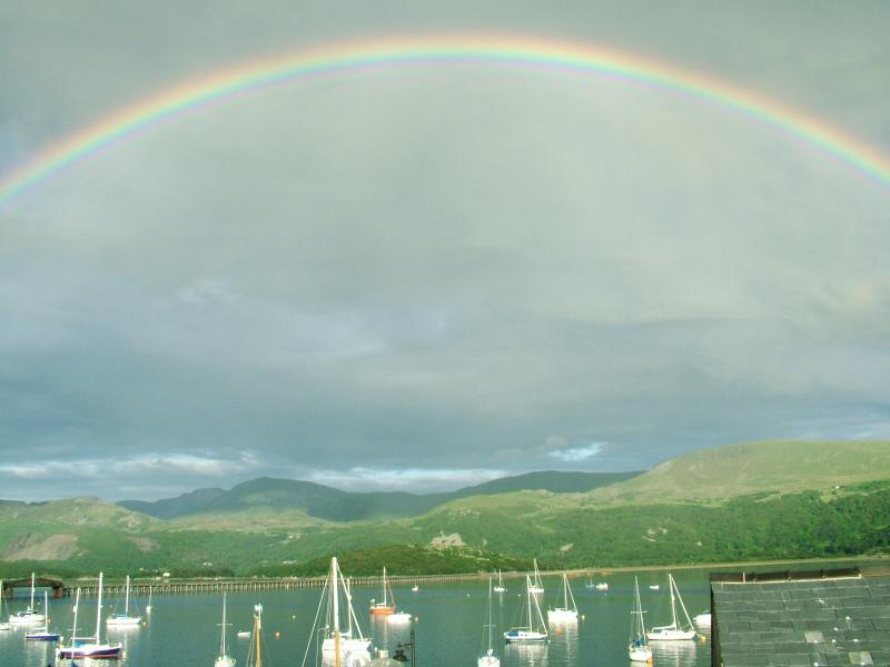 Rainbow over Barmouth bridge