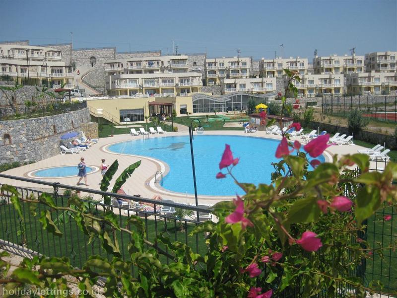 View of the main pool and apartments