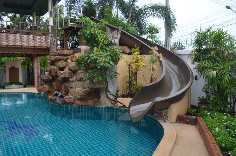 Water slide and waterfall