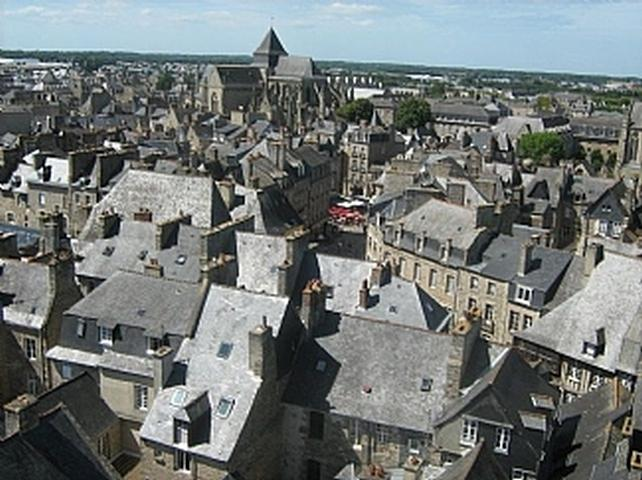 Aerial view of medieval Dinan from the Clock Tower