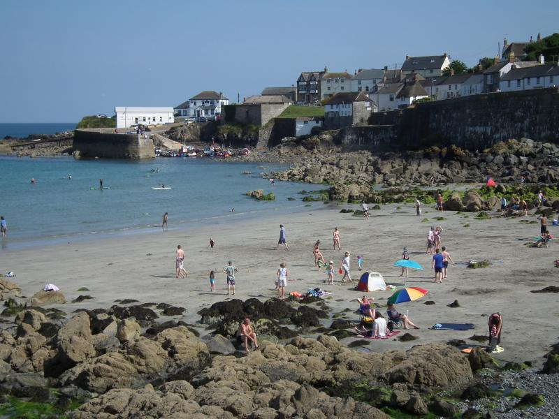 The beach and harbour at Coverack
