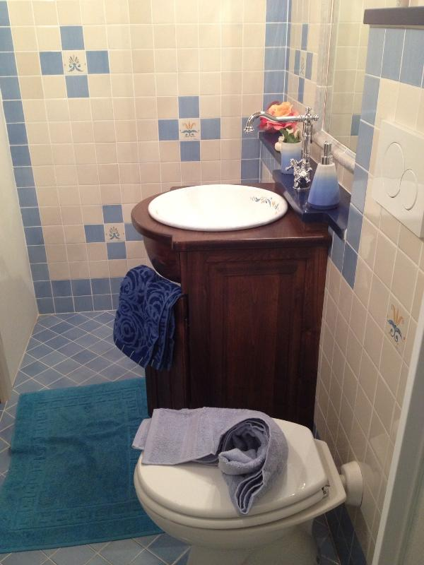Bathroom with chestnut wood furniture handmade, hand-basin and hand-painted tiles