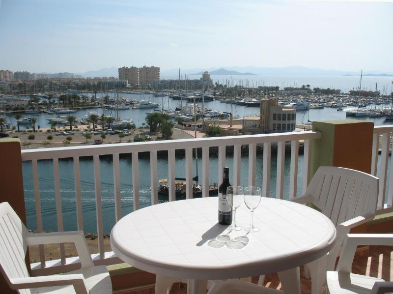 View from the south facing balcony over the marina, Mar Menor and Med