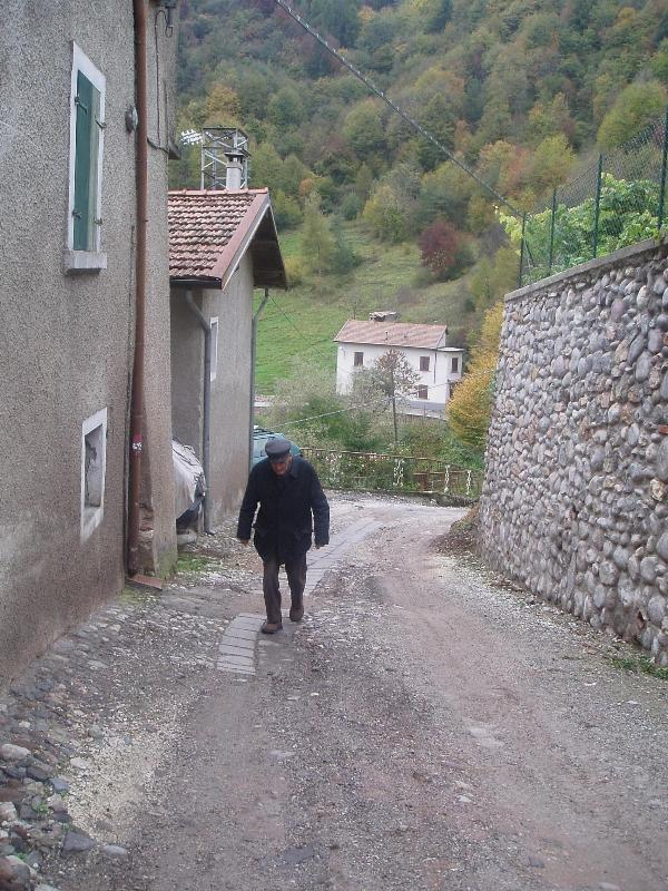 My father walking in Costa di Gargnano village suitable for retired as great air and healthy
