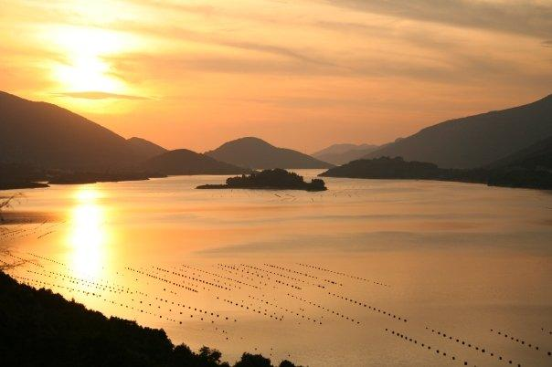 Peljesac bay at sunset.