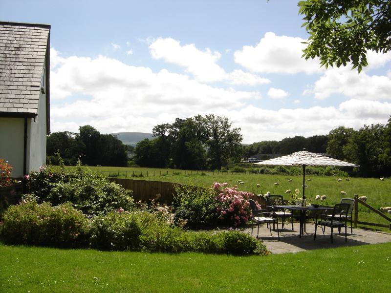 Cottage garden with views towards Dartmoor