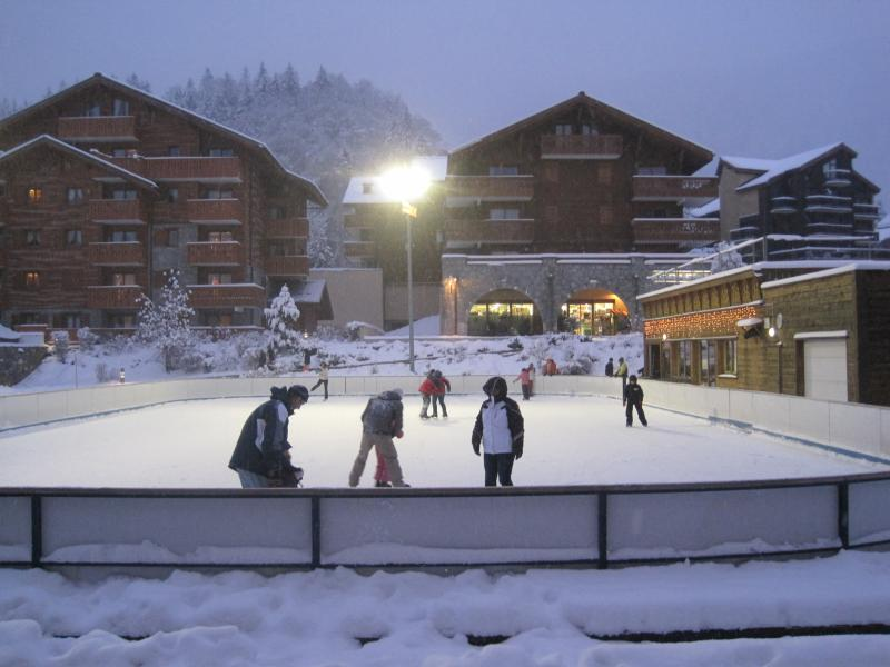 The enrance to Sabaudia faces the ice rink, shops and the village centre