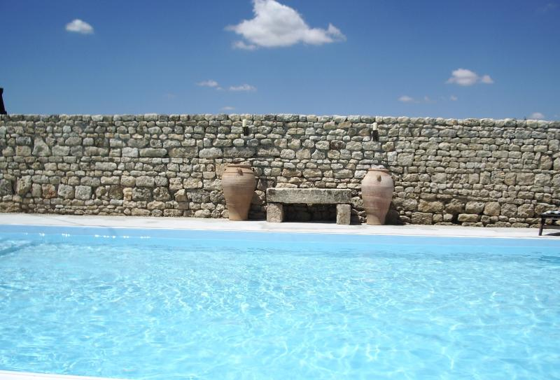 Saltwater swimming pool 11x5m surrounded by stone walls and a locked gate.