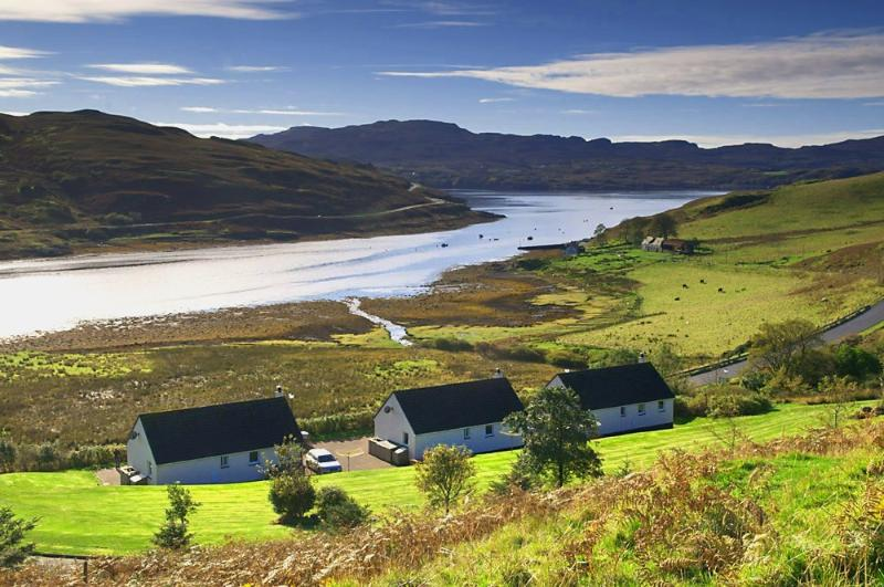 Bracadale Holiday Cottages with view over the sea loch, Loch Beag, to Portnalong