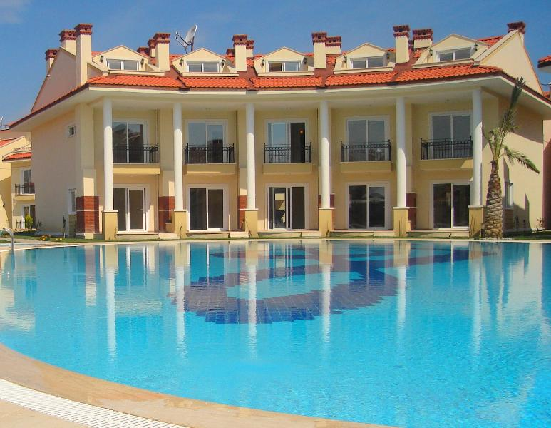 Luxurious new development with large, outdoor pools.