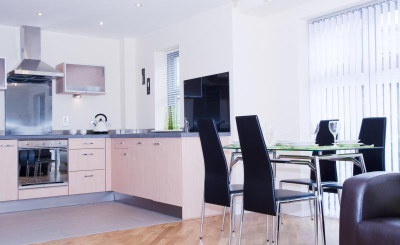 Light, Well Equipped Kitchen and Dining Area