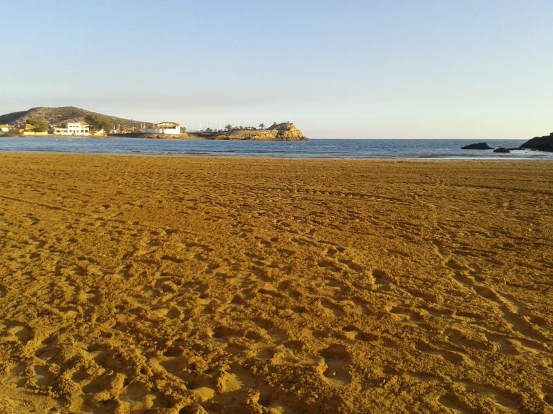 Beach at Puerto de Mazarron (20 min drive) where sea very shallow and sand perfect for sandcastles..