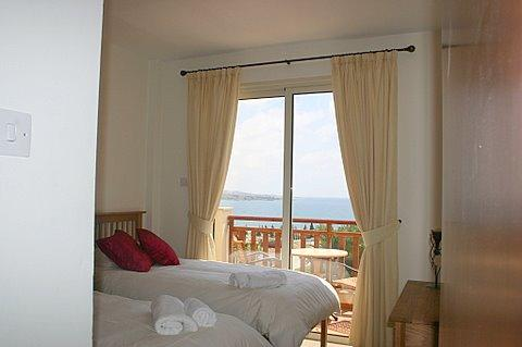 one of the twins rooms overlooking the Sea