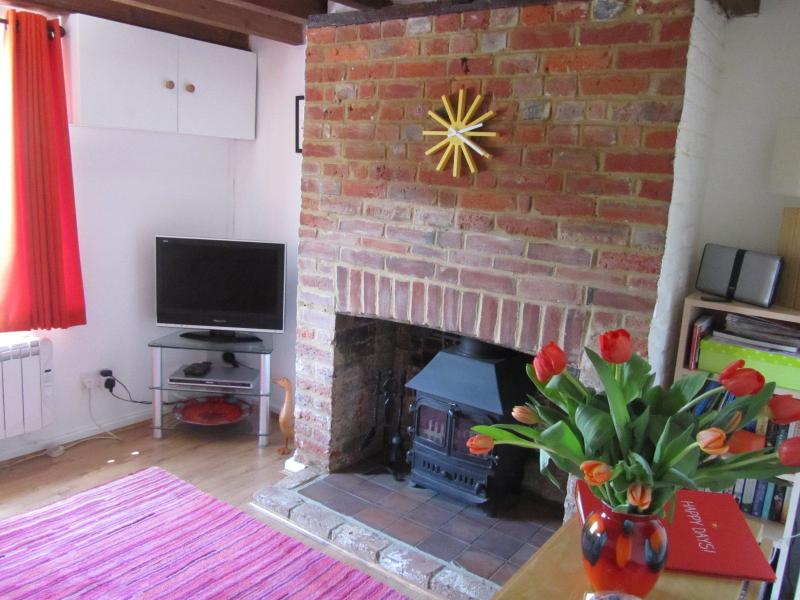 Cosy beamed lounge with wood burning stove, books and local information