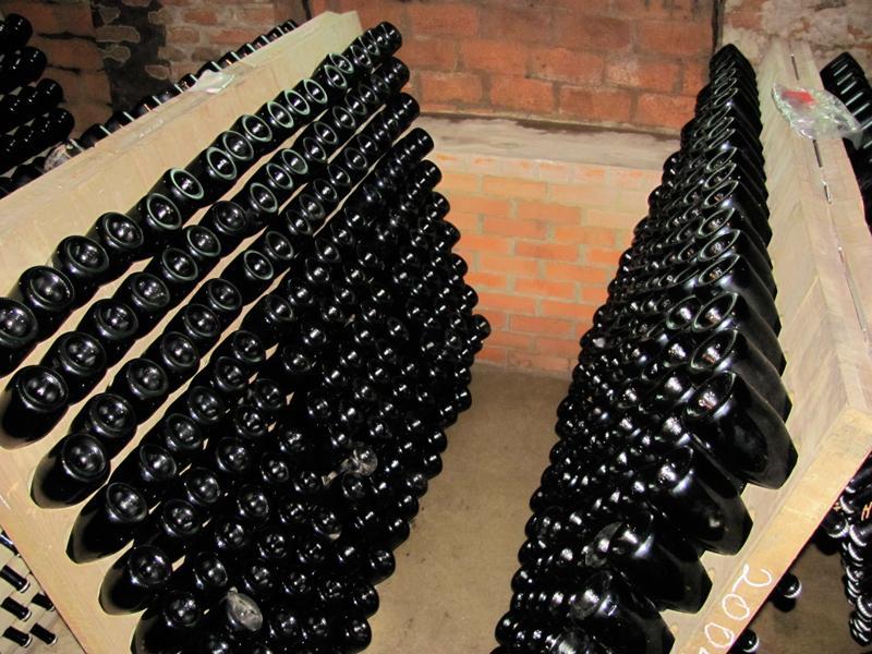 Radgonske Gorice Champagne celler, traditional method racks