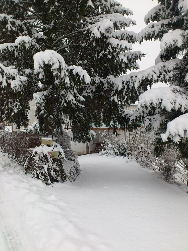 House entrance in winter snow