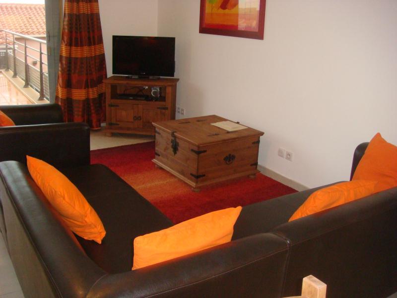 Salon avec TV satellite, accès Wi-Fi gratuit et DVD lecteur