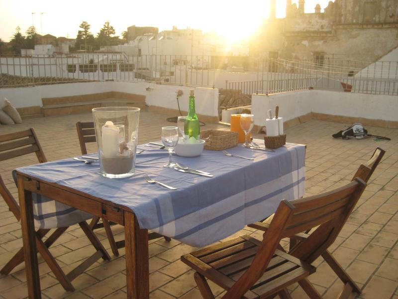 Jantar no terraço do último piso