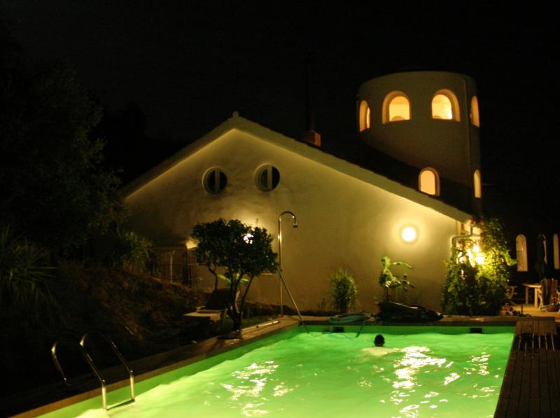 swimming pool at night