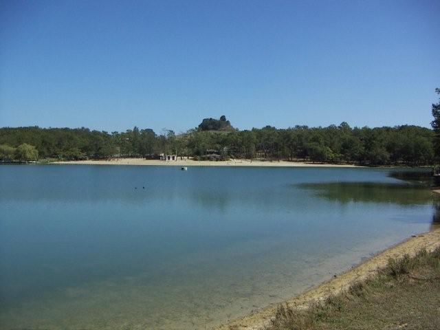 Lake,with sandy beach-Lac du Gurcon just below village