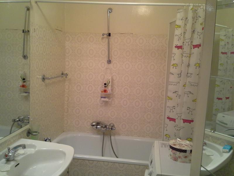salle de bains : baignoire, WC, lave-linge, lavabo