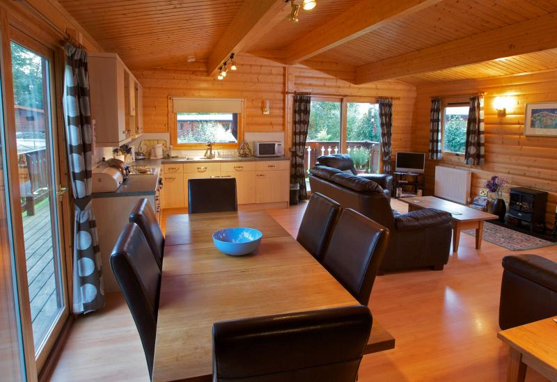 Fully modern kitchen; stylish dining area in Birchlea Lodge.