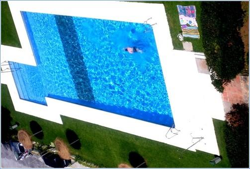 The Swimming and Paddling Pools, viewed from the balcony.