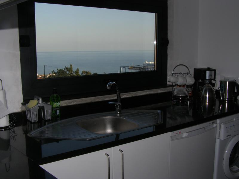 Your kitchen sink view over the sea, coffee maker, fridge and washing machine all to hand as well.
