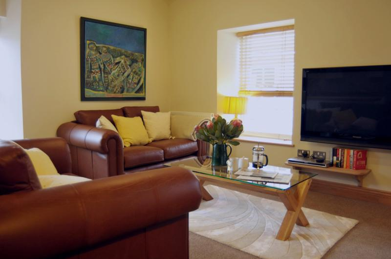 The luxurious living area with large television and leather sofas.
