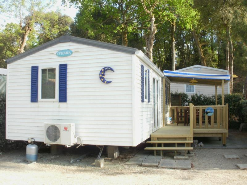 Modern 'cottage' style mobile home with covered wooden terrace, wooden patio furniture &am