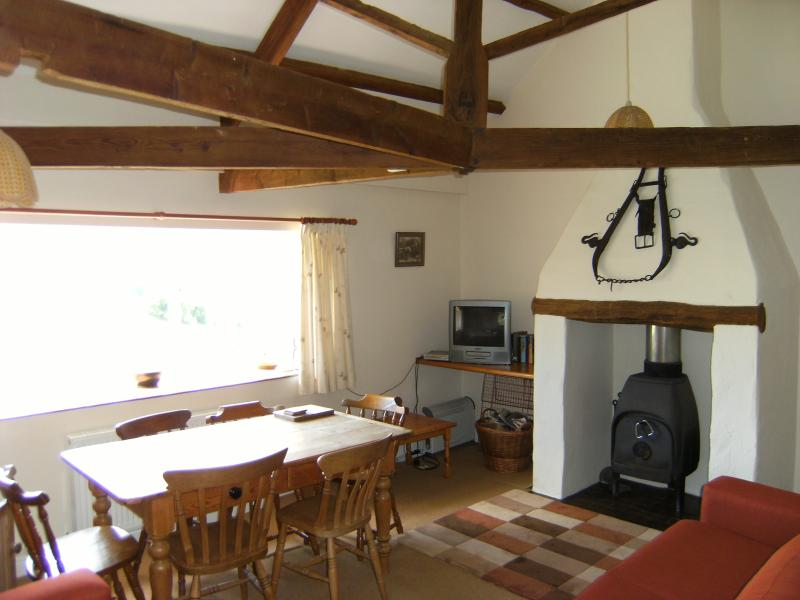 Beams and Woodburning stove
