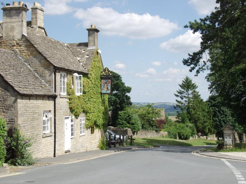 A local pub with views of the Cotswold hills