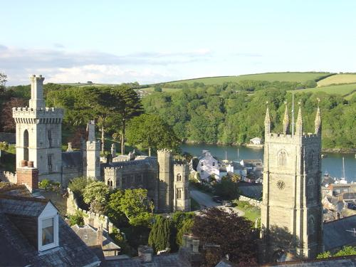 View of Fowey Town, Place & St Fimbras from balcony