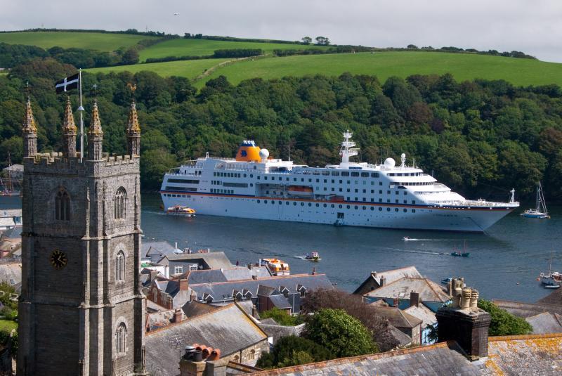 Cruise ship moored outside Helen House!