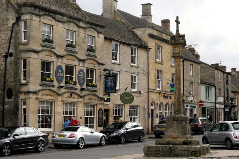 Market square showing one of the many inns and local stone buildings
