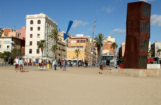 Beachfront Barcelona Beach with building  Barceloneta Beach Apartments