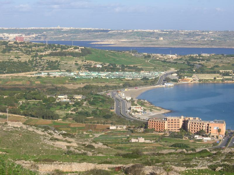 View of Mellieha Bay, Gozo and Comino