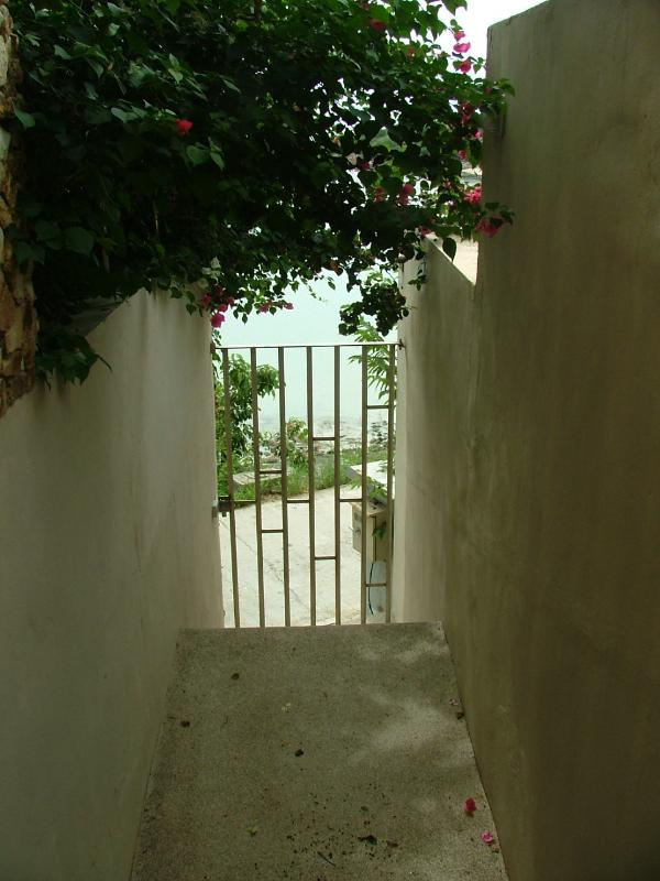Lower gate leading to the beach access is a 5 min walk but not for children say under four, ..
