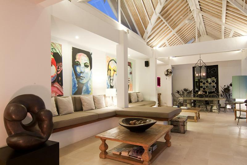 Living room at dusk.  Relax and enjoy the tastefully decorated Villa