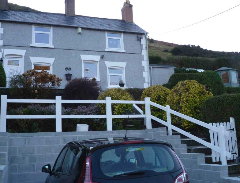 Offroad parking bay, cottage frontage and garden